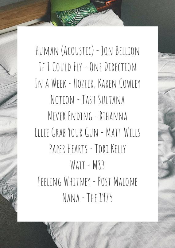 Human (Acoustic) - Jon BellionIf I Could Fly - One DirectionIn A Week - Hozier, Karen CowleyNotion - Tash SultanaNever Ending - RihannaA Song About Being Sad - Rex Orange CountyPaper Hea