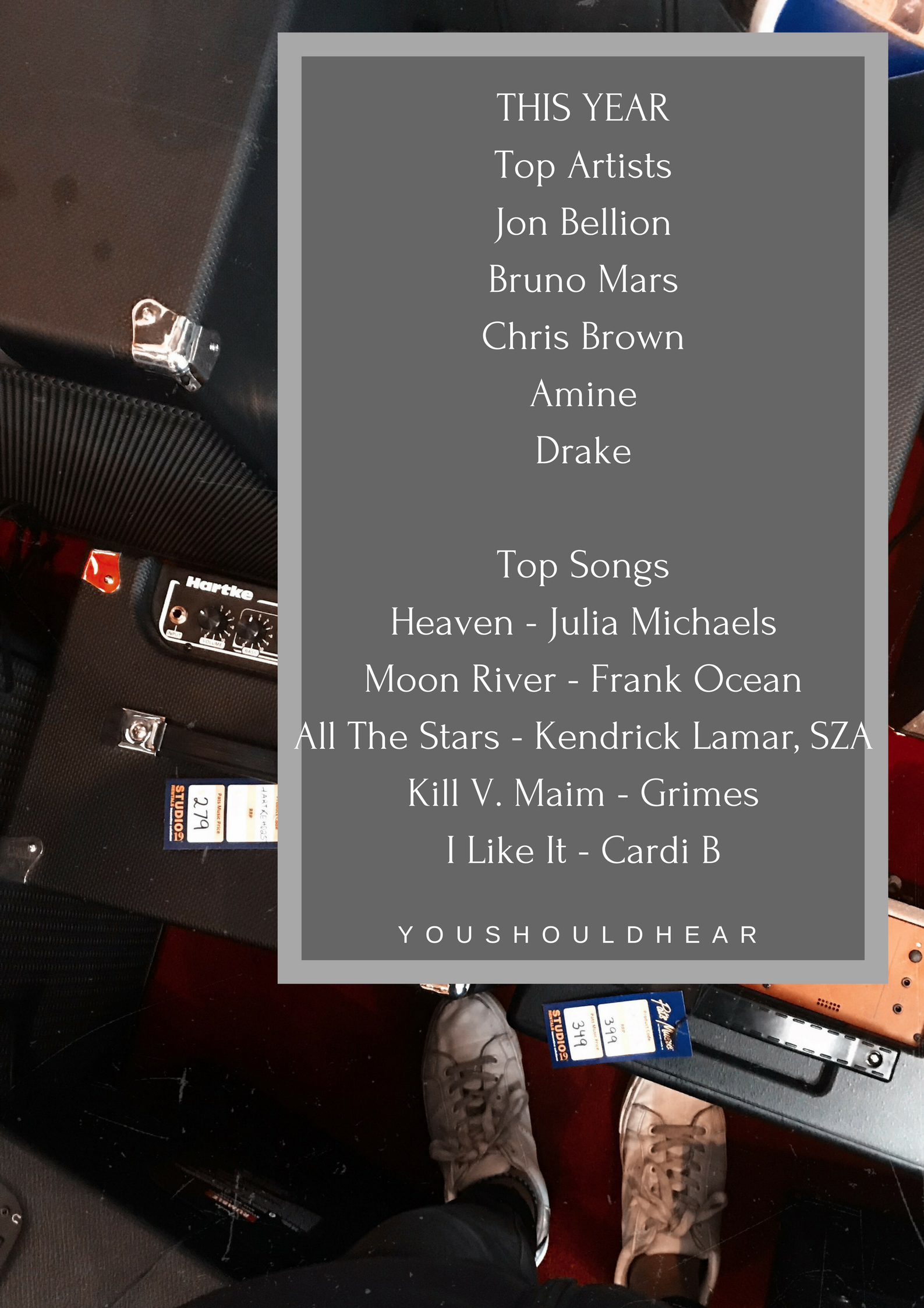 THIS YEARTop ArtistsJon BellionBruno MarsChris BrownAmineDrakeTop SongsHeaven - Julia MichaelsMoon River - Frank OceanAll The Stars - Kendrick Lamar, SZAKill V. Maim - GrimesI Like It -