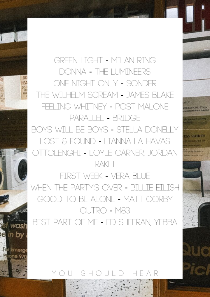 Green Light - Milan Ring Donna - The Lumineers One Night Only - Sonder The Wilhelm Scream - James Blake Feeling Whitney - Post Malone Parallel - BRIDGE Boys Will Be Boys - Stella Donelly Lost & Found - Lianna La Hava